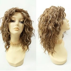 Light brown lace front curly heat resistant wig